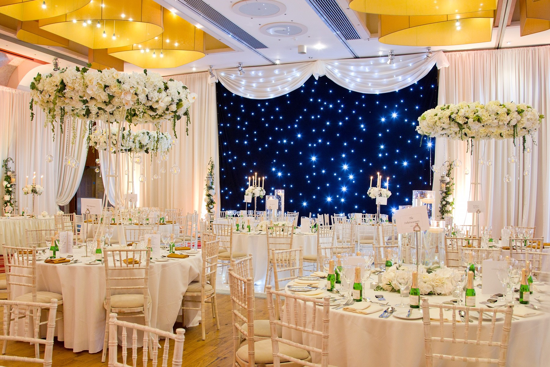 Black Star cloth and large floral wedding centrepieces at Osprey Hotel