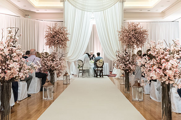 Full Room Draping with Cherry Blossom Decorations by Event Central at Knightsbrook Hotel